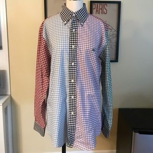 Men's brooks brothers gingham patchwork shirt